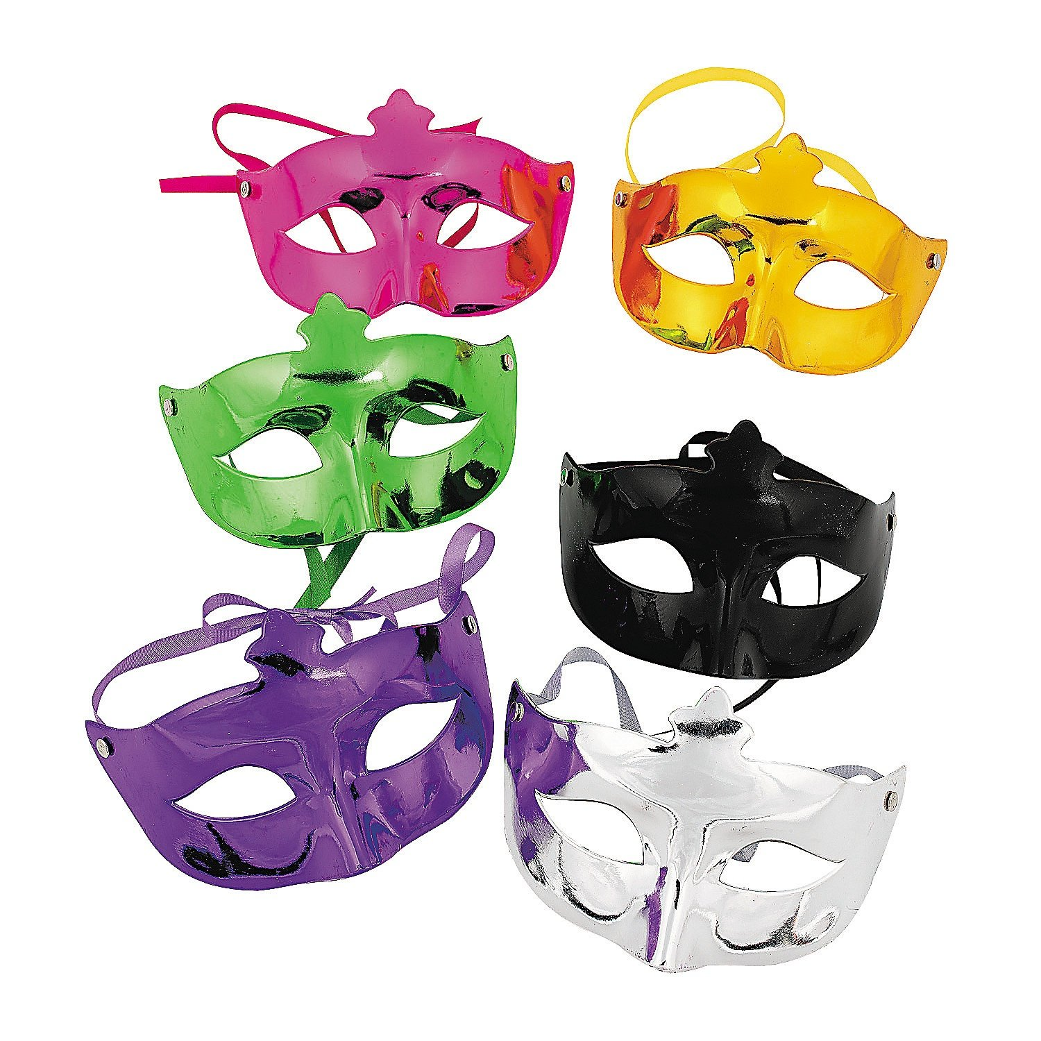Fun Express Mardi Gras Masquerade Face Masks Costume Accessories - 12 Pack