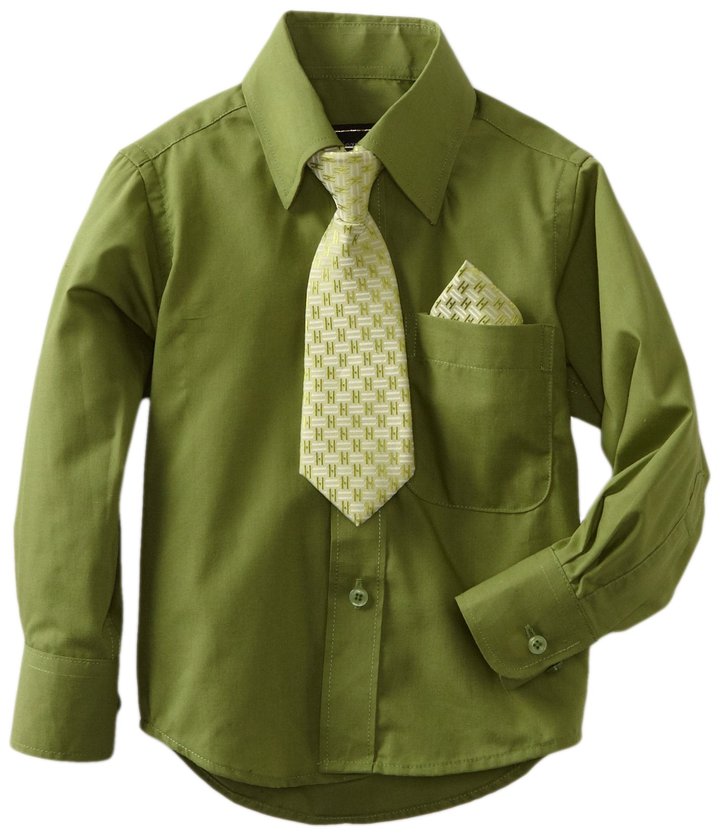 American Exchange Little Boys' Little Dress Shirt With Tie And Pocket Square, Hunter, 6