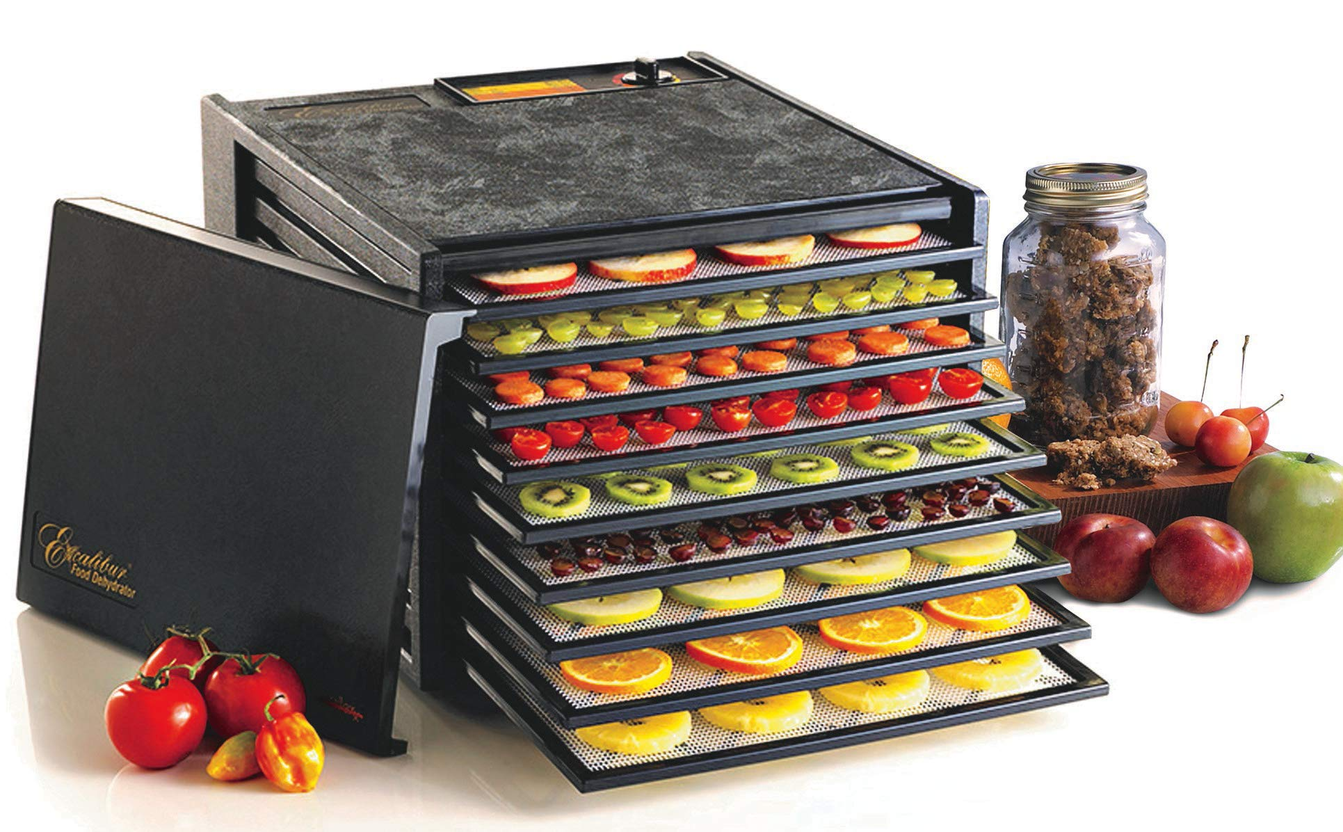 Excalibur 3900B 9-Tray Electric Food Dehydrator with Adjustable Thermostat Accurate Temperature Control Faster and Efficient Drying Includes Guide to Dehydration Made in USA, 9-Tray, Black by Excalibur