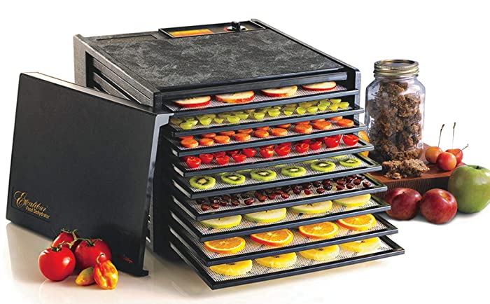 Excalibur 3900B Electric Food with with Adjustable Thermostat Accurate Temperature Control Faster and Efficient Drying Includes Guide to Dehydration Made in USA 9-Tray Black
