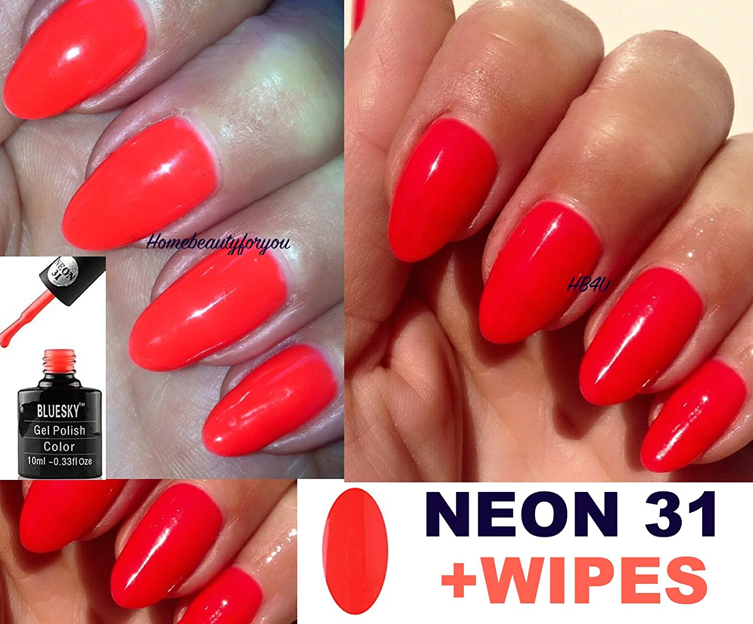 Bluesky Neon 31 Bright Vibrant Orange with a hint of Red Nail Gel ...