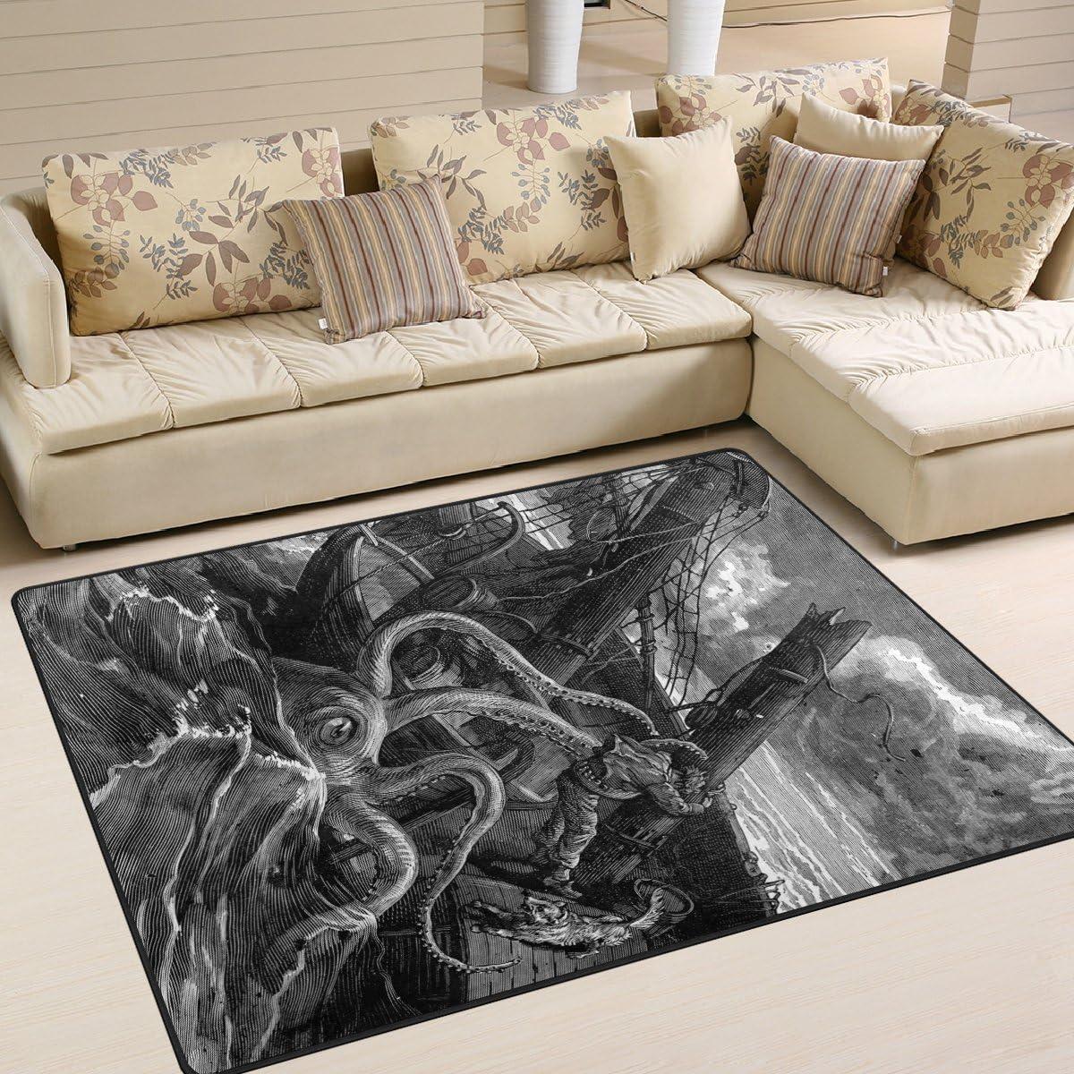 1.7 x 2.6 ft Ocean Sea Wave Nursery Rug Floor Carpet Yoga Mat Naanle Black and White Animal Octopus Non Slip Area Rug for Living Dinning Room Bedroom Kitchen 50 x 80 cm