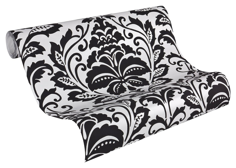 Livingwalls Vliestapete Flock Tapete neo barock glamourös klassisch 10, 05 m x 0, 53 m schwarz weiß matt glänzend Made in Germany 255419 2554-19