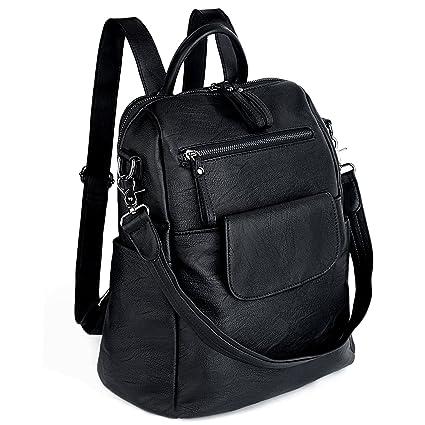 1782487afc0705 UTO Women Backpack 3 Way PU Leather Ladies Girls Rucksack Shoulder Travel  School Bags, Black, Medium: Amazon.co.uk: Luggage