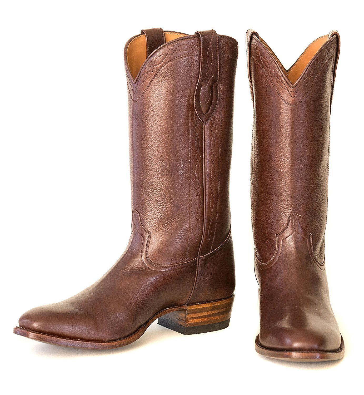 Ranch Road Boots Men's Guadalupe Cowboy Boot With Walking Heel US 9.5 Brown