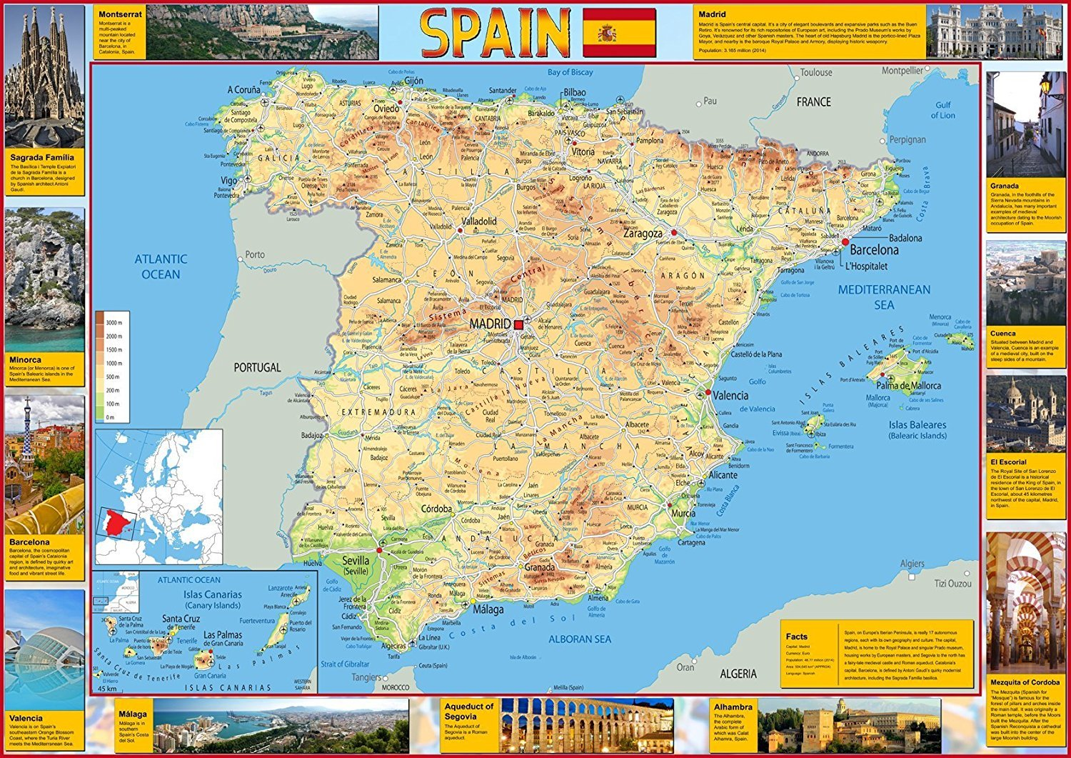 Map of Spain - Tourist - Illustrated with pictures of key points of ...
