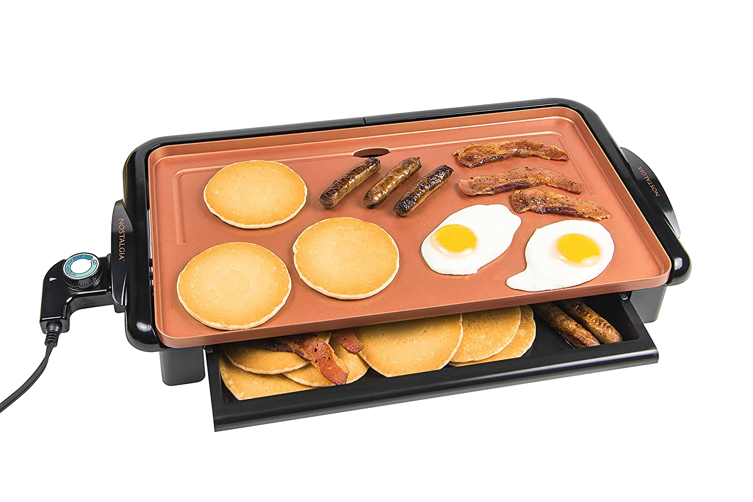 Nostalgia GD20C Copper Ceramic Non-stick Griddle with Warming Drawer
