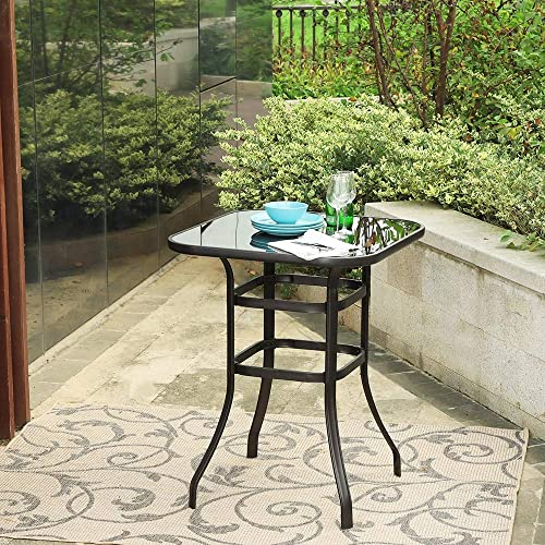 PHI VILLA Outdoor Bar Table, Bar Height Tall Patio Bistro Table, Metal Frame Tempered Glass Table High Top Black