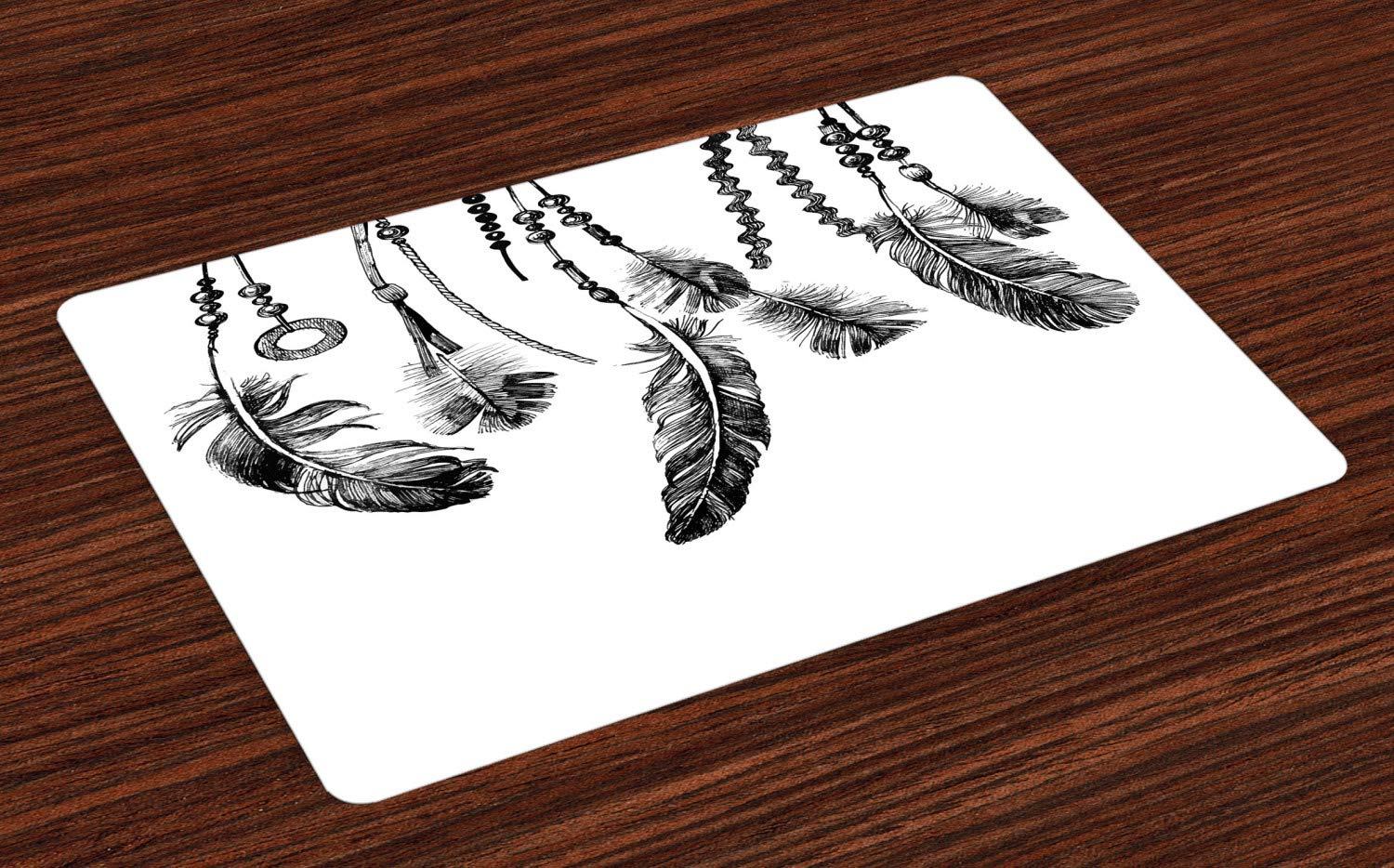 Ambesonne Native American Place Mats Set of 4, Native American Tribal Feathers Ancient Icon for Wisdom and Strength, Washable Fabric Placemats for Dining Room Kitchen Table Decor, White and Black