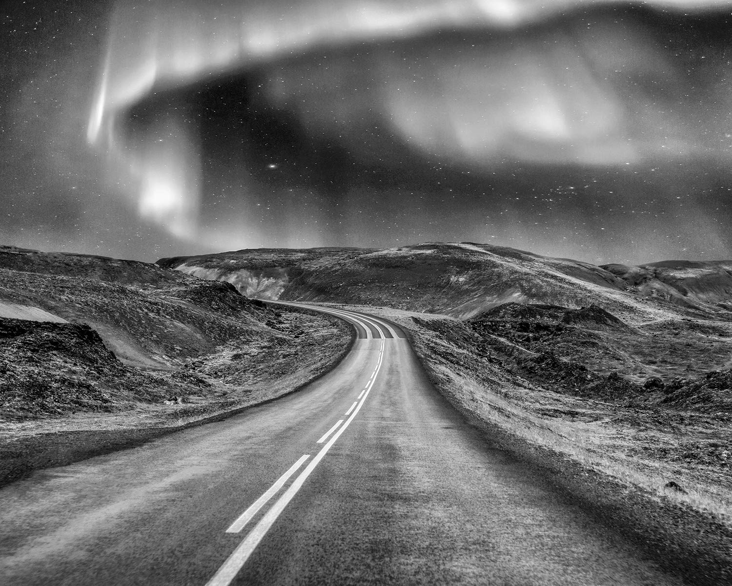 Black and white aurora borealis art print northern lights art large green wall art landscape scenery picture iceland photography black white wall art