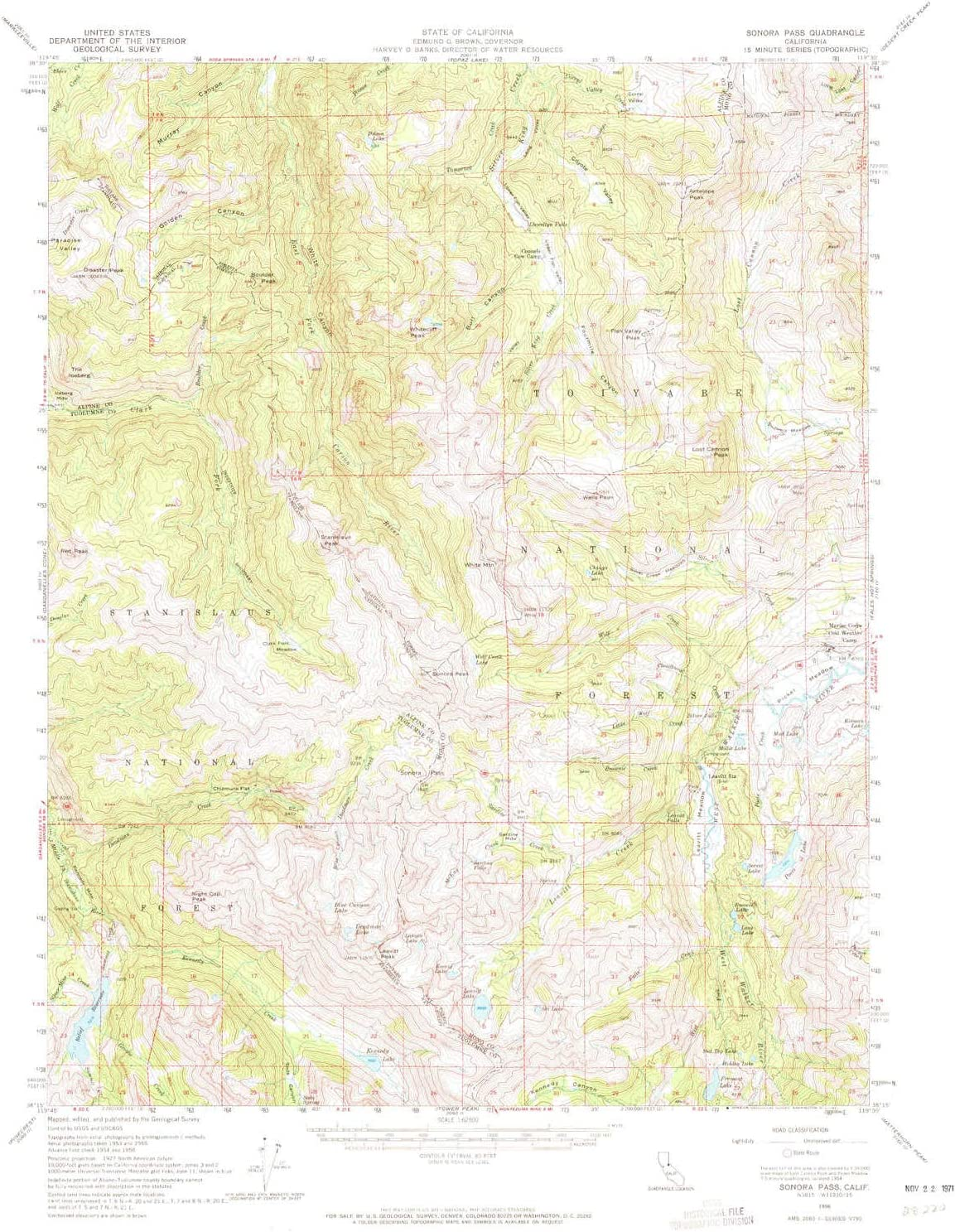 YellowMaps Sonora Pass CA topo map, 1:62500 Scale, 15 X 15 Minute, Historical, 1956, Updated 1971, 20.8 x 16.6 in 81lm-dwjw3L