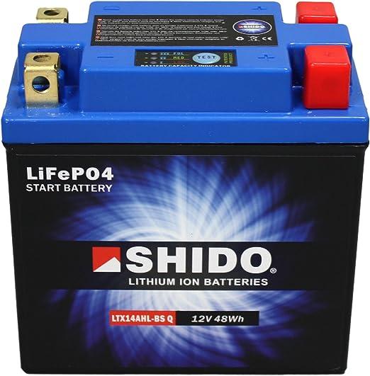 Batterie Shido Lithium Ltx14ahl Bs Ytx14ahl Bs Quattro 12v 12ah Maße 134x75x168 Auto