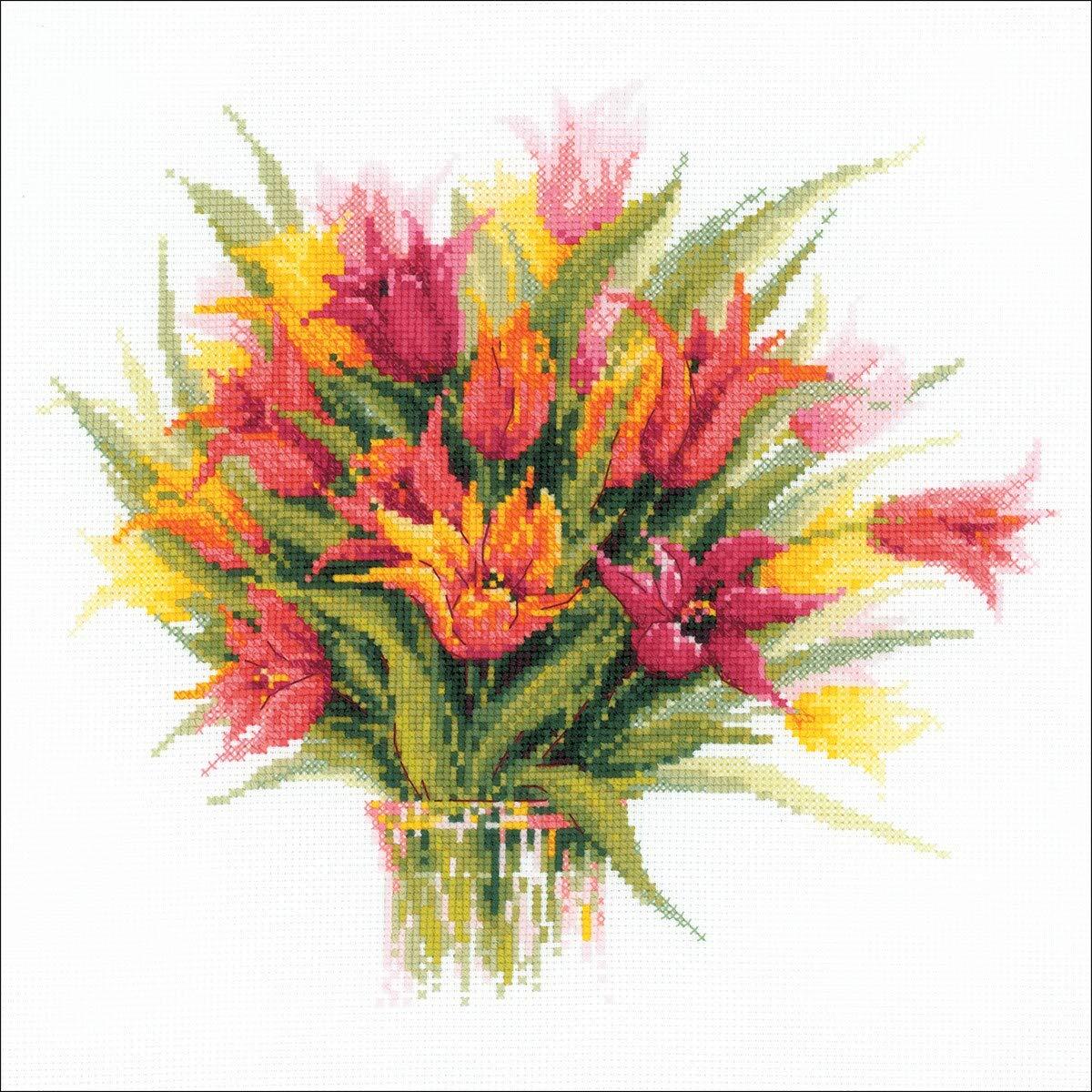 Riolis Kit de Punto de Cruz Jarr/ón con Tulipanes