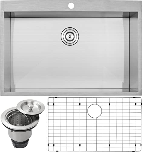 33 Ticor PLZ-615 Overmount 18 Gauge Stainless Steel Zero Radius Single Bowl Kitchen Sink with Accessories