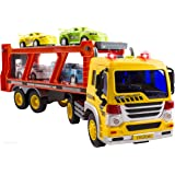 WolVol Friction Powered Transport Carrier Truck Toy for Boys and Girls, Lights and Sounds and Ramp (Includes 4 Plastic Cars) -Batter