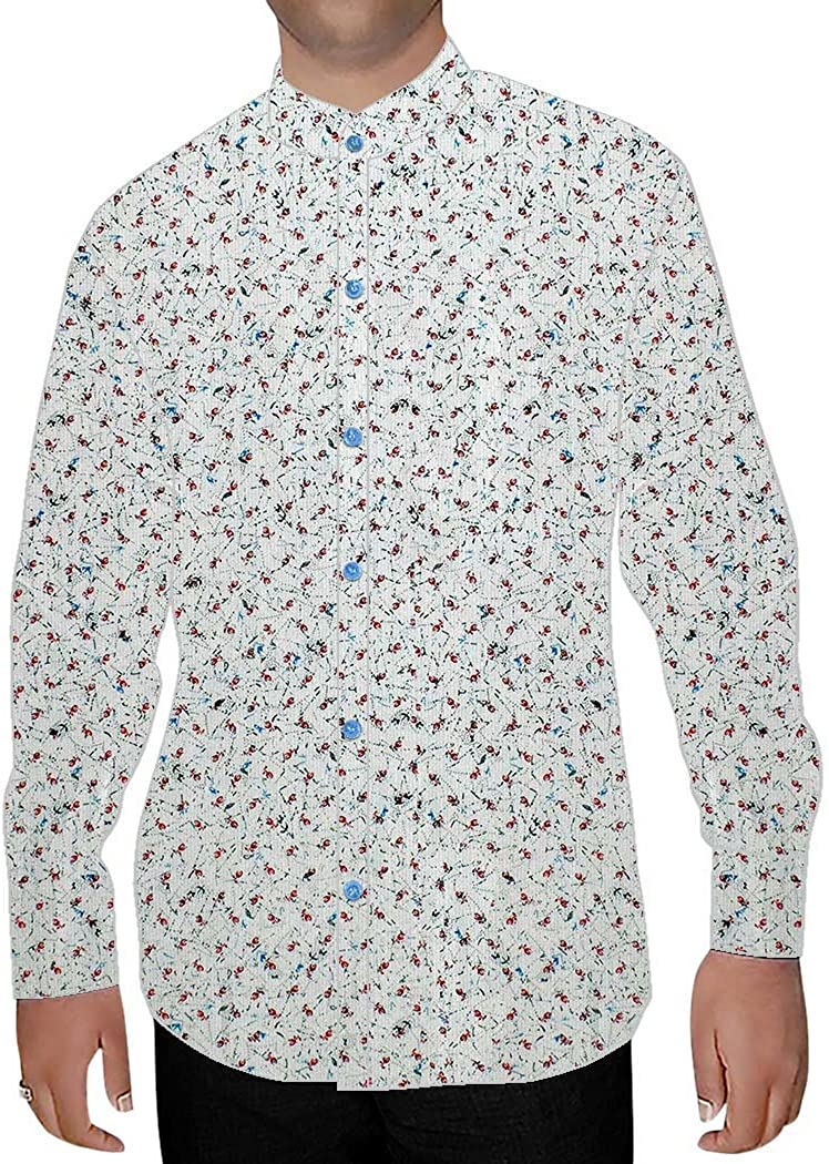 INMONARCH Mens Cream Printed Nehru Collar Shirt Hawaiian NSH15977