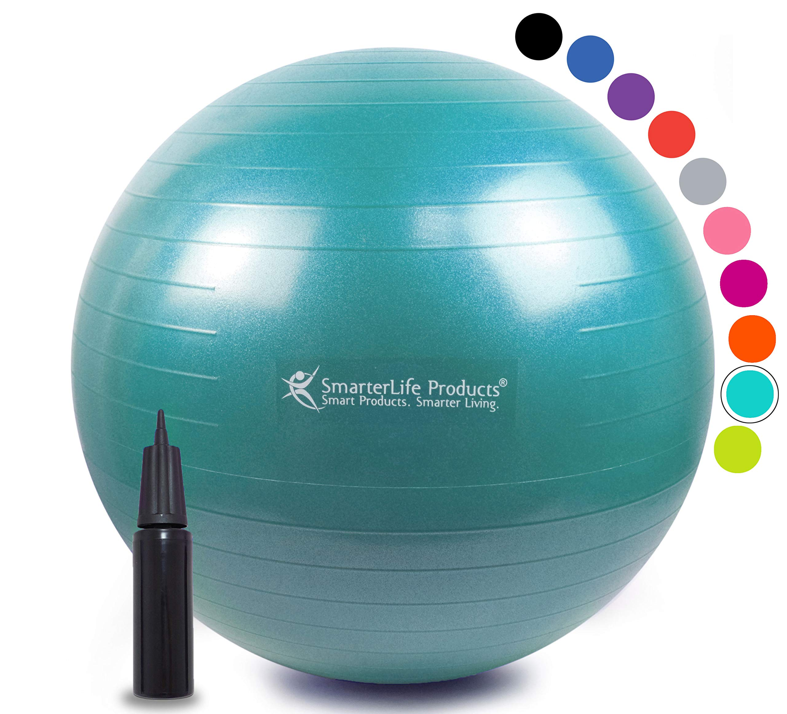 Exercise Ball for Yoga, Balance, Stability from SmarterLife - Fitness, Pilates, Birthing, Therapy, Office Ball Chair, Classroom Flexible Seating - Anti Burst, No Slip, Workout Guide (Turquoise, 65 cm)