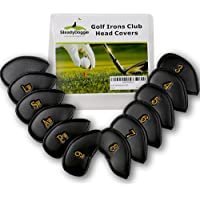 SteadyDoggie Golf Iron Covers Made With Durable Strong & Waterproof PU Leather To Prevent Scratches Or Damage, Attractive Design Plus Velcro Lock Strap Ensures A Secure & Snug Fit, Set of 12 Club Protectors