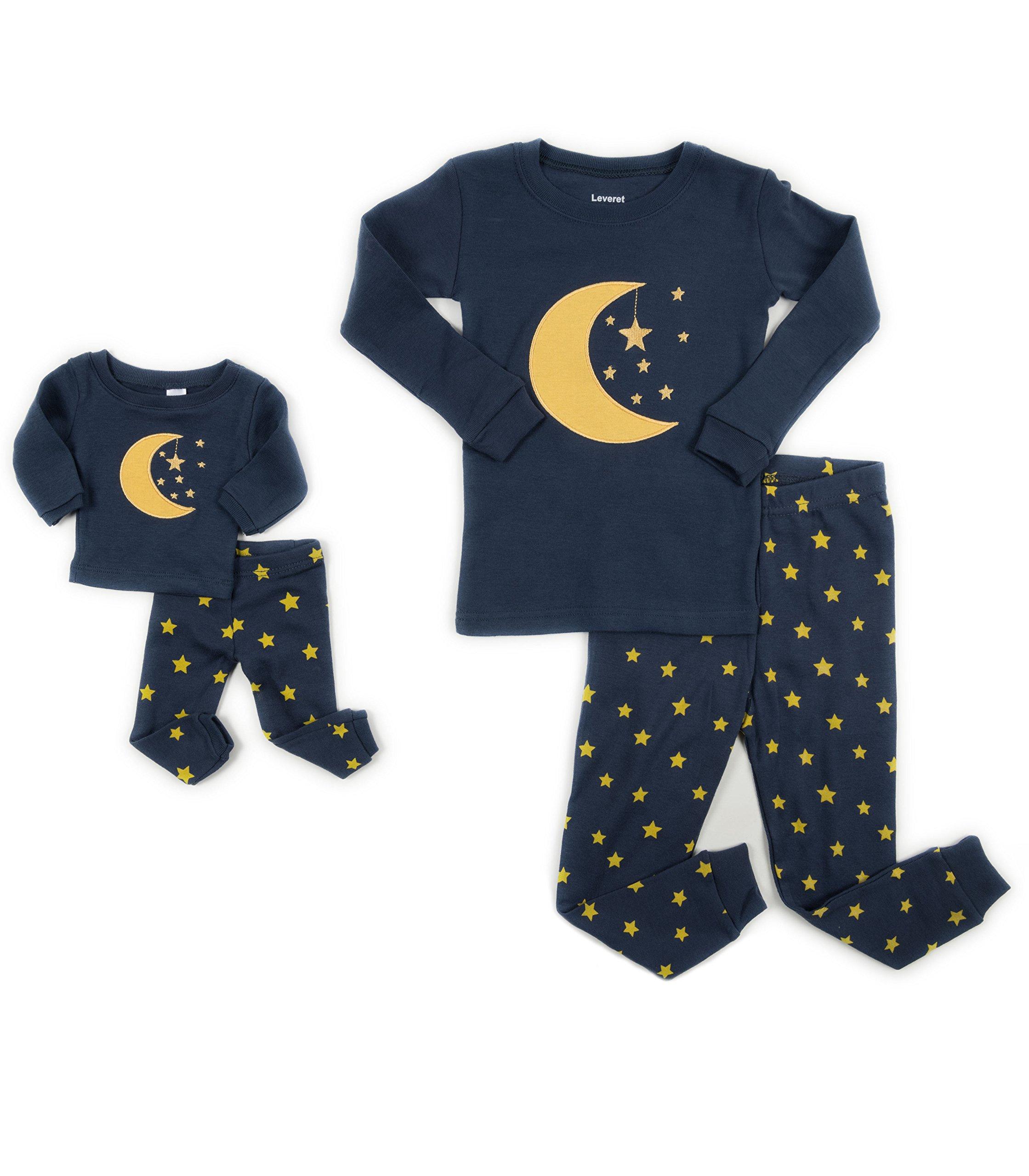 475be426c Leveret Moon   Stars Matching Doll   Girl 2 Piece Pajama Set 100 ...