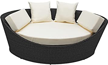 Rattan4Life Korfu Schwarz/Creme Polyrattan Liege Gartenmoebel Sitzgruppe  Lounge Moebel Set Gartentisch Sessel Sofa Stuhl