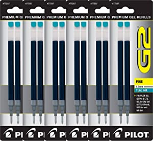 Value Pack of 6 - Pilot G2 Gel Ink Refills for Rolling Ball Pen, Fine Point, Teal (77257)