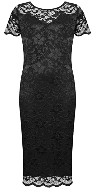 WearAll Plus Size Womens Lace Lined Short Sleeve Midi Dress - Black - US 10 (