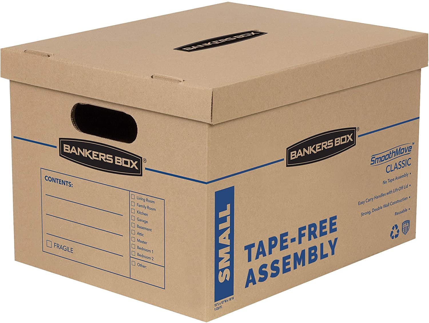 Bankers Box SmoothMove Classic Moving Boxes, Tape-Free Assembly, Easy Carry Handles, Small, 15 x 12 x 10 Inches, (7714901): Office Products