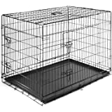 SmithBuilt Folding Metal Dog Crate - Double Door Cage - Multiple Sizes Available