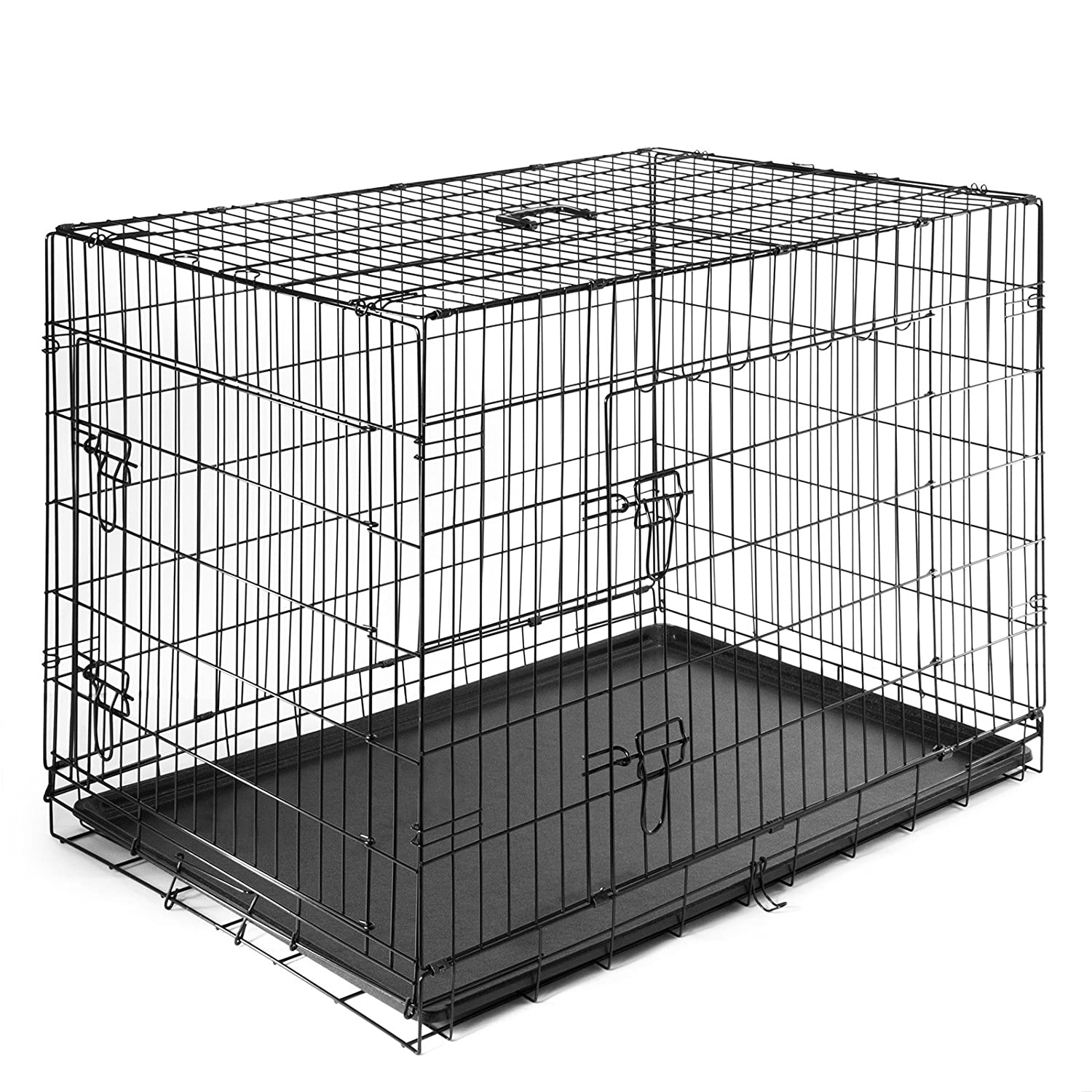 SmithBuilt Portable Dog Crate Cage – Folding Two-Door Metal Wire Pet Animal Kennel – ABS Tray Pan – Black – Various Sizes