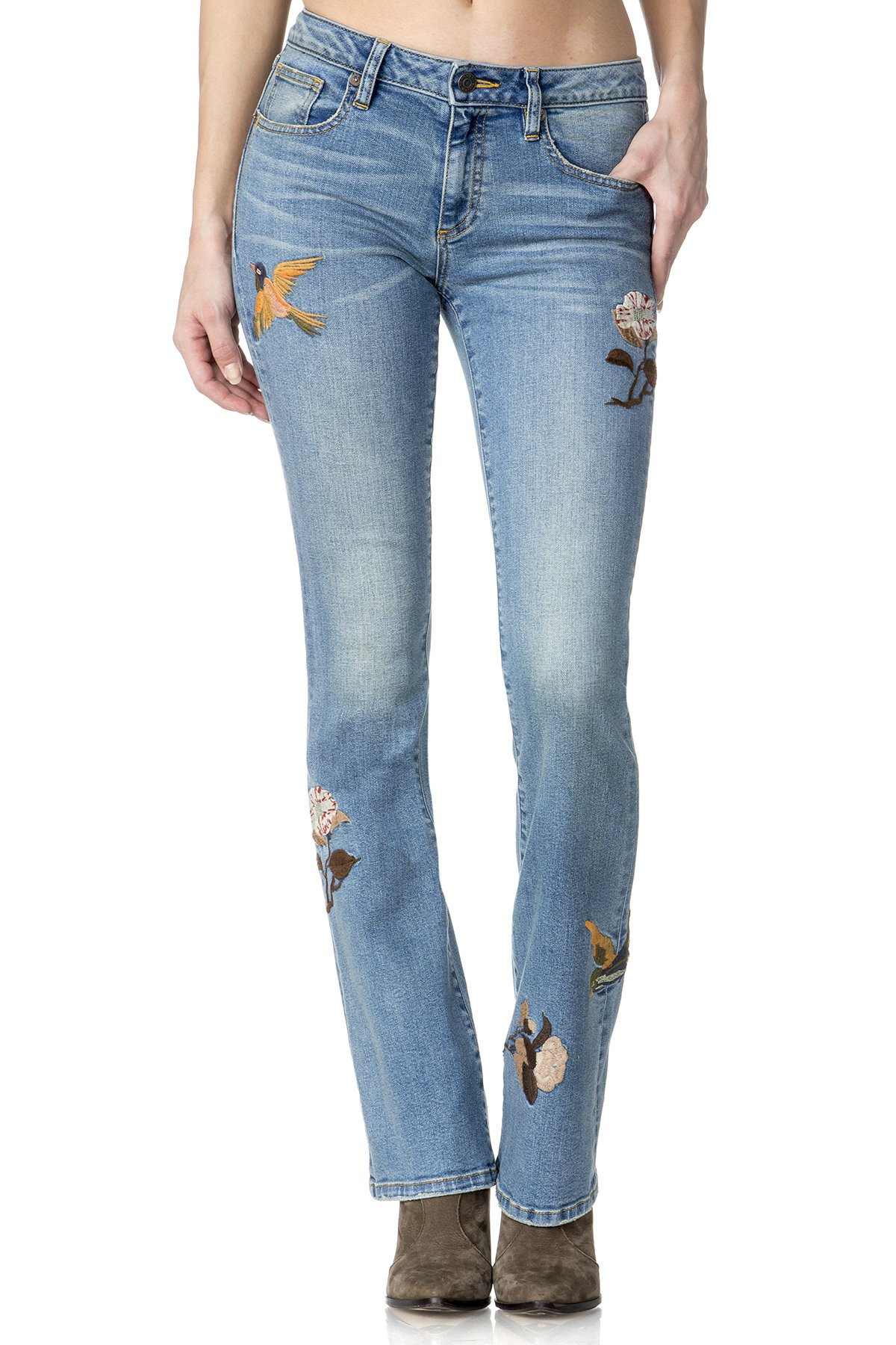 Miss Me Womens Like Woah Mid-Rise Boot Cut Jean 30 Medium Blue