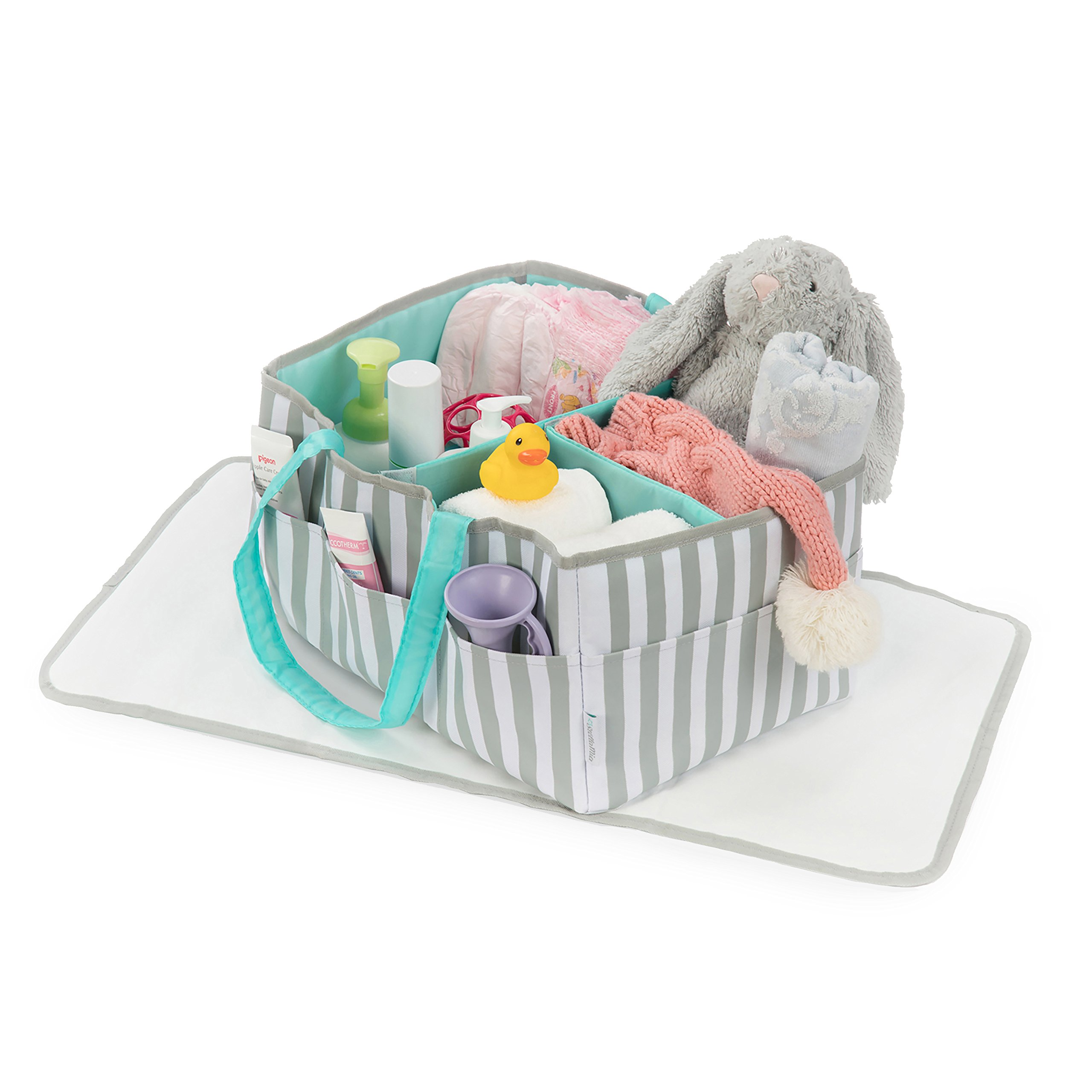 Stella Mia Diaper Caddy [Bonus Changing Pad] - Extra-Large Portable Nursery Diaper Stacker - Changing Table Organizer for Baby Essentials - Perfect Baby Shower Gift, Baby Registry Must Have by Stella Mia (Image #2)