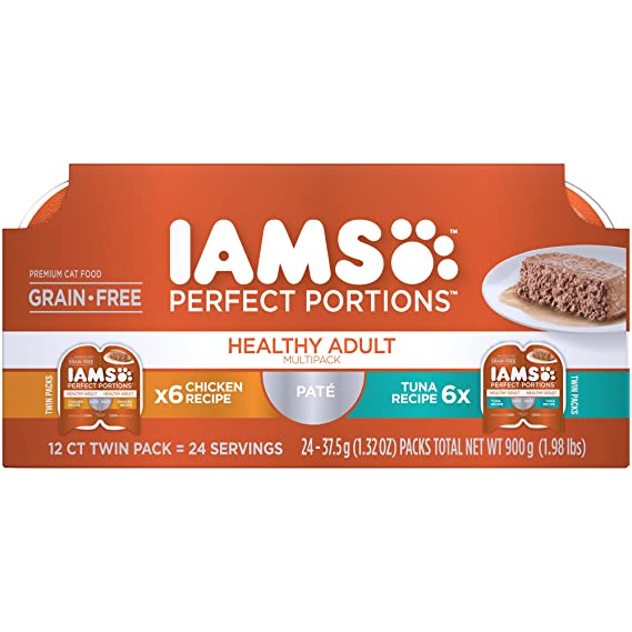 Amazon.com : Iams Perfect Portions Grain Free Adult Wet Cat Food Paté Chicken Recipe And Tuna Recipe Variety Pack, (24) 2.6 Oz. Twin-Pack Trays : Pet ...