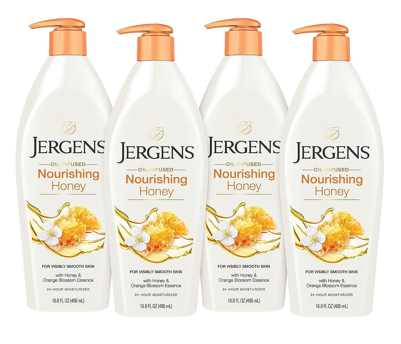 Jergens Nourishing Honey Dry Skin Moisturizer, 16.8 Fl Oz, Pack of 4 (Packaging May Vary)