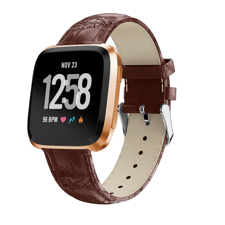 yaspark Fitbit Versa Watchバンド、光沢本革交換Uniqueアクセサリーバンドワニパターンストラップリストバンドfor Fitbit Versa Fitness Smart Watch ブラウン ブラウン B07BMSMB92