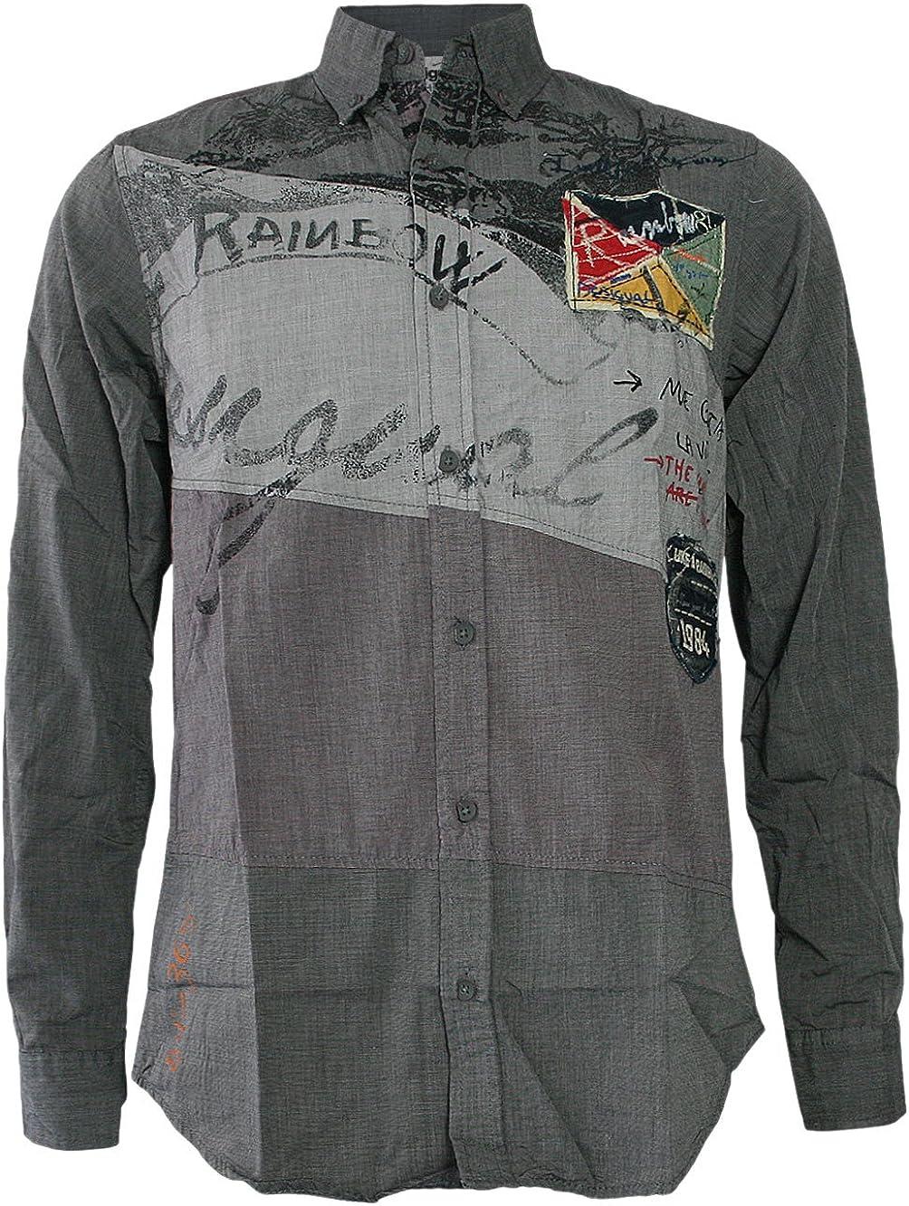 Desigual Hombre Diseñador Camisa Manga Larga Shirt Camisetas - MARK -XXXL: Amazon.es: Ropa y accesorios
