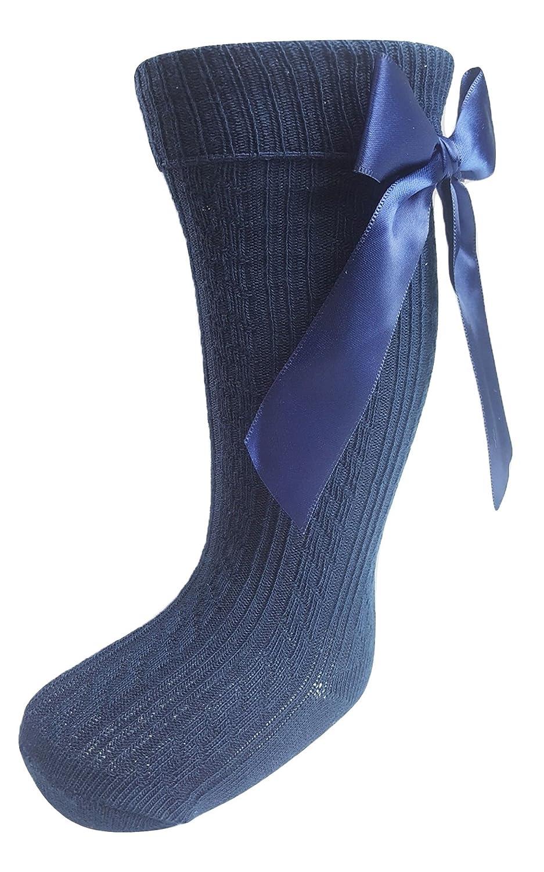 Baby Girl 1 Pair of Bow Knee High Socks Navy Blue Newborn upto 12-18 Months