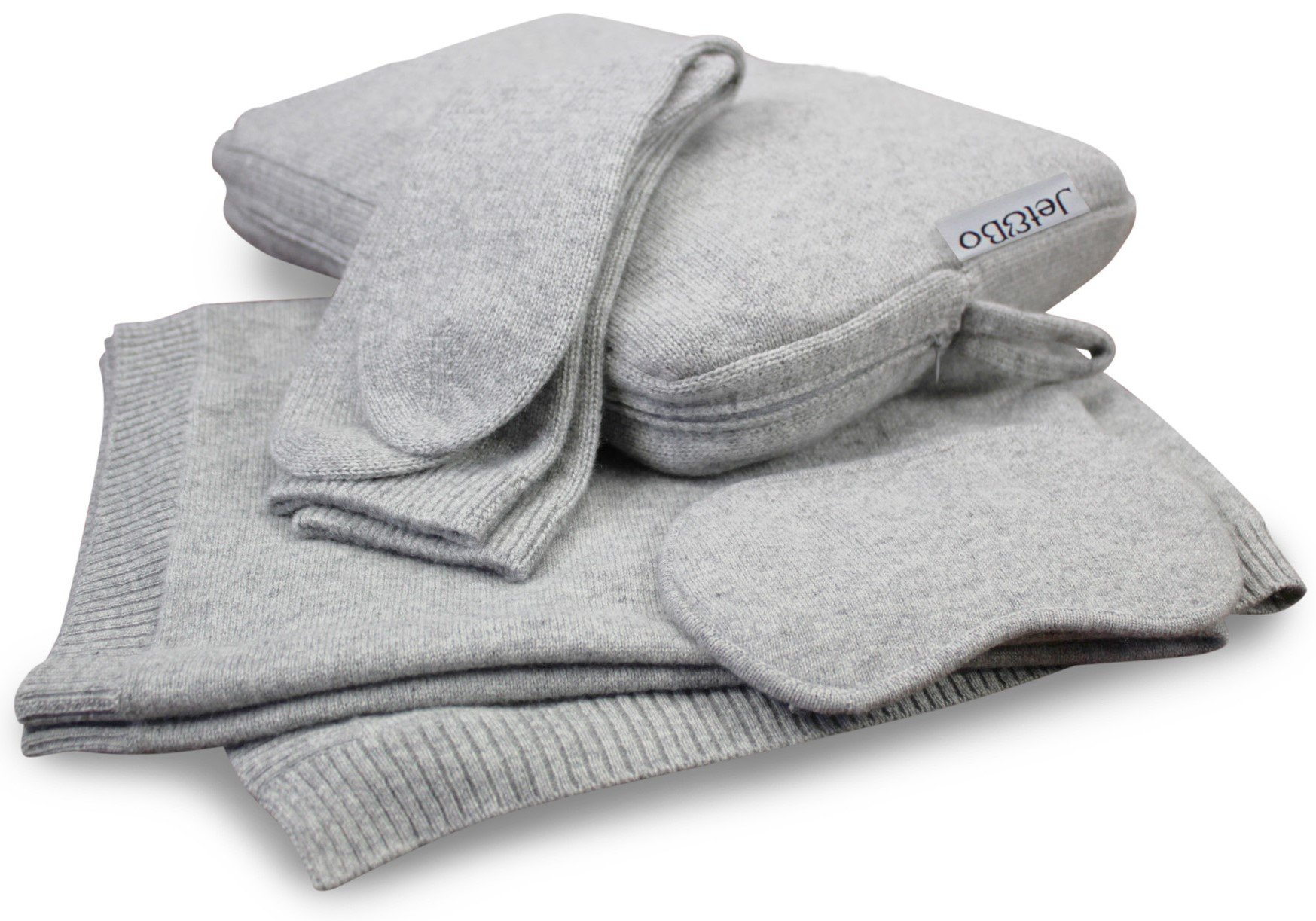 Jet&Bo 100% Cashmere Travel Set: Blanket, Eye Mask, Socks, Carry/Pillow Case Gray