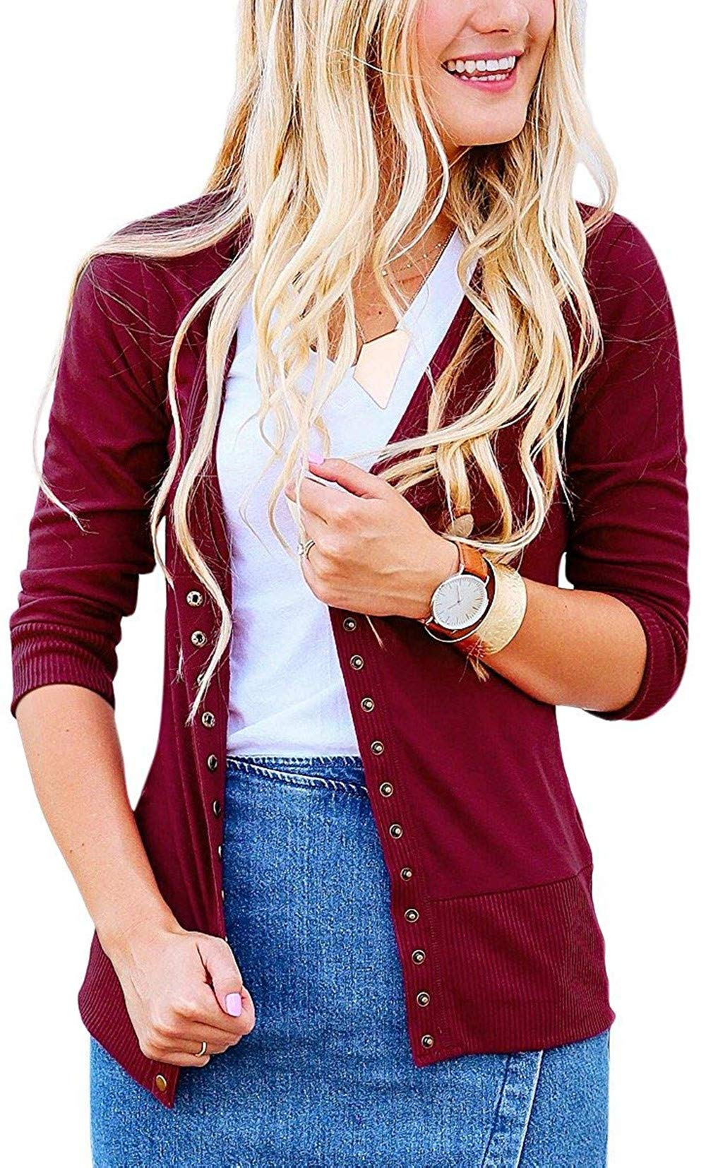 Steven McQueen Women's S-3XL Solid Button Front Knitwears 3/4 Sleeve Casual Cardigans Burgundy S