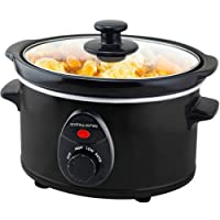 Andrew James Slow Cooker in Black - Removable Ceramic Bowl Tempered Glass Lid Cool Touch Handles & 3 Heat Settings