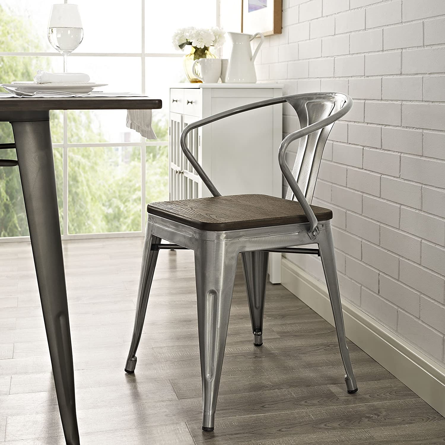 Modway Promenade Industrial Modern Aluminum Kitchen and Dining Room Arm Chair with Bamboo Seat in Gunmetal