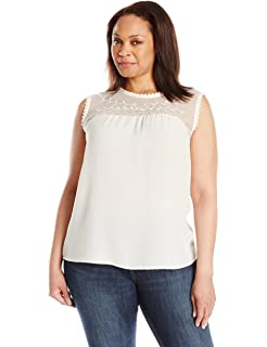 Blu Pepper Womens Plus Size Sleeveless Tank Top With Lace and Embroidery