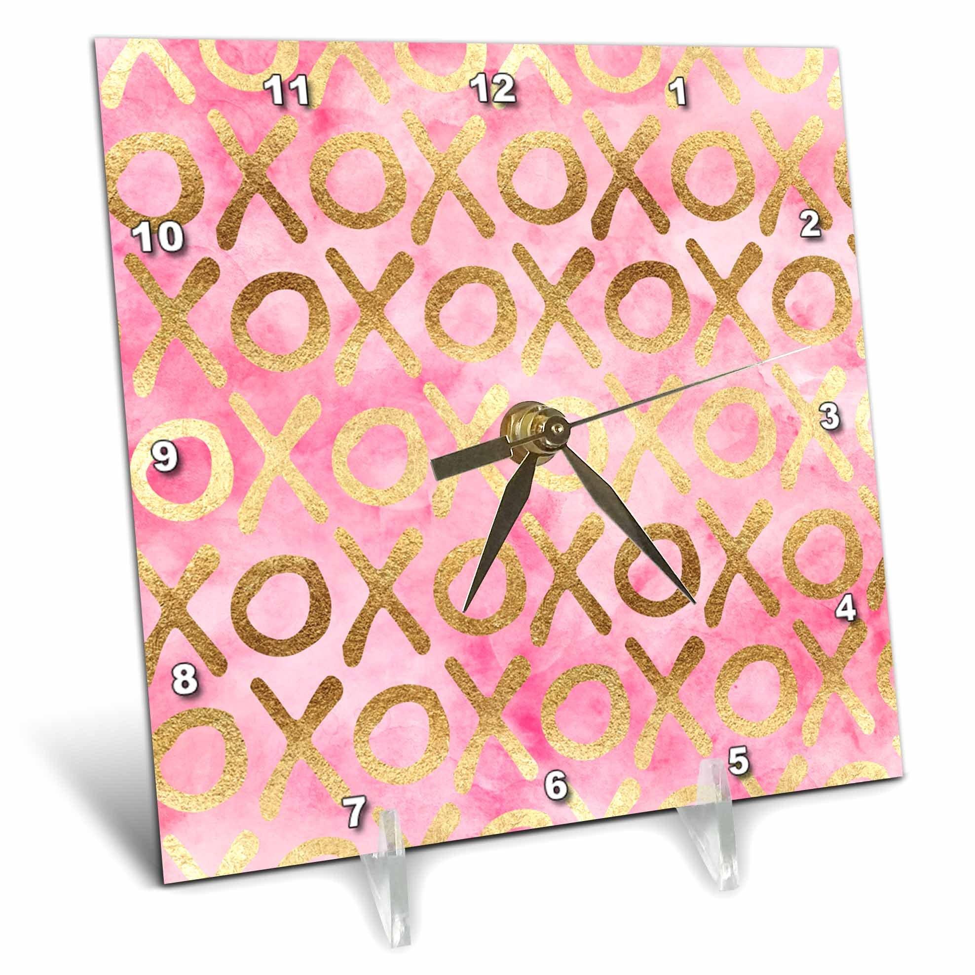 3dRose PS Inspiration - Image of Gold Pink XOXO - 6x6 Desk Clock (dc_280720_1)
