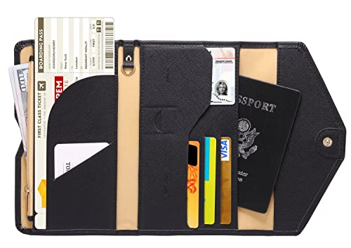 Zoppen Mulit-Purpose RFID Blocking Travel Passport Wallet (Ver.4) Tri-fold Document Organizer Holder, 1 Black