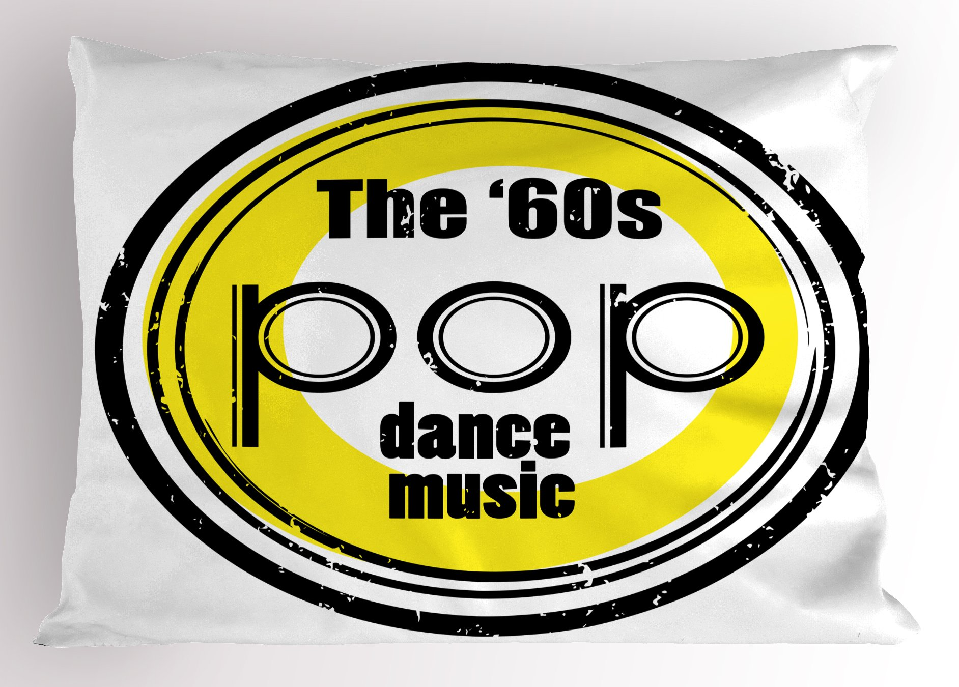 Ambesonne 1960s Pillow Sham, Party Music Night Club Bar Band Pop Dance Festival Classic Good Old Days Art, Decorative Standard Size Printed Pillowcase, 26 X 20 inches, Black White Yellow by Ambesonne (Image #1)