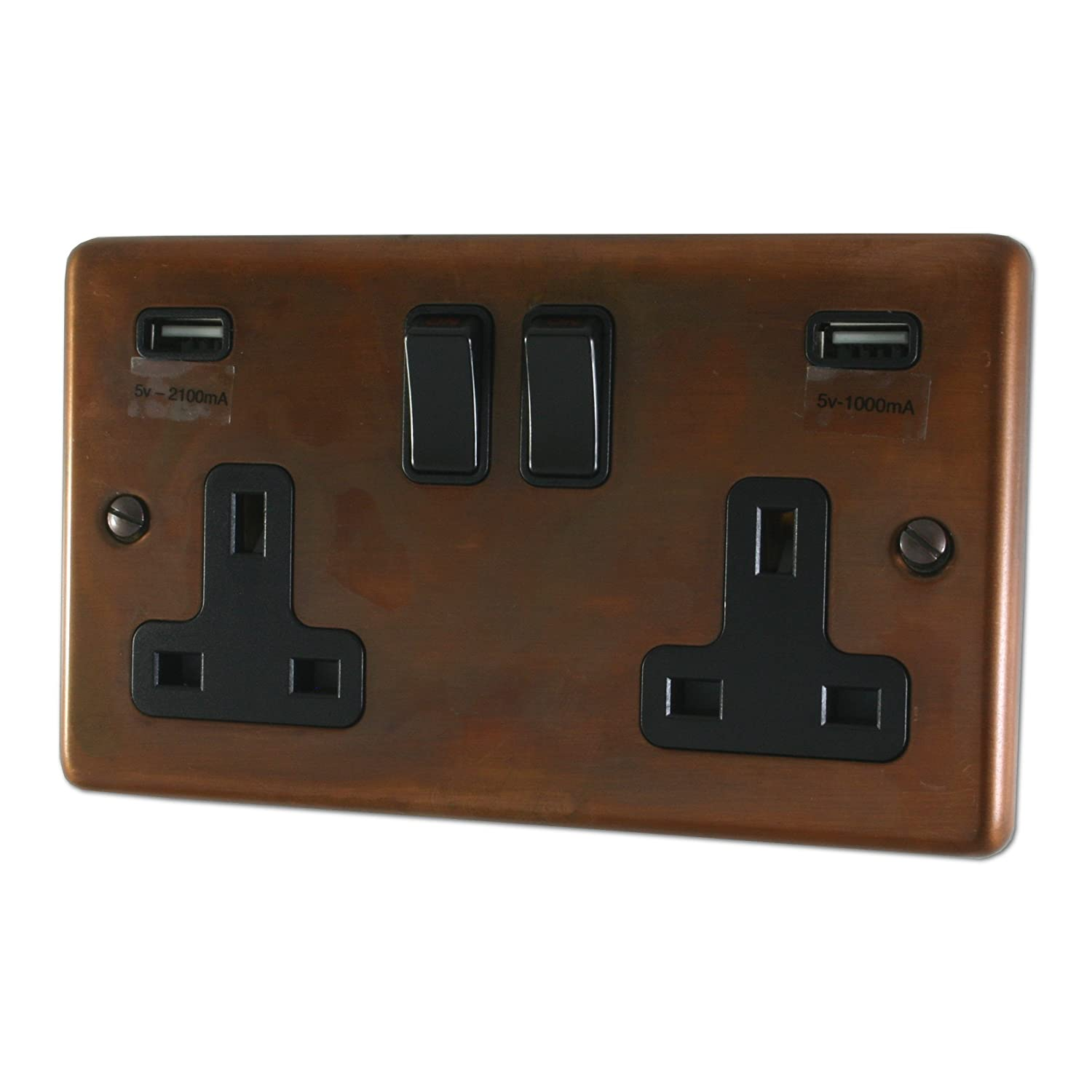 Contour Tarnished Copper Double Socket with USB (Black Switch) - CTC910B G&H Brassware