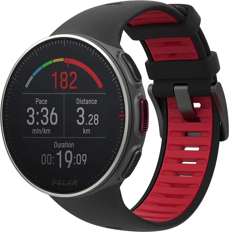 Polar Vantage V Titan - Reloj Premium con GPS y Frecuencia Cardíaca. Caja de Titanio. Multideporte y perfil de triatlón - Potencia de running, batería ultra larga, resistente al agua. Negro/Rojo