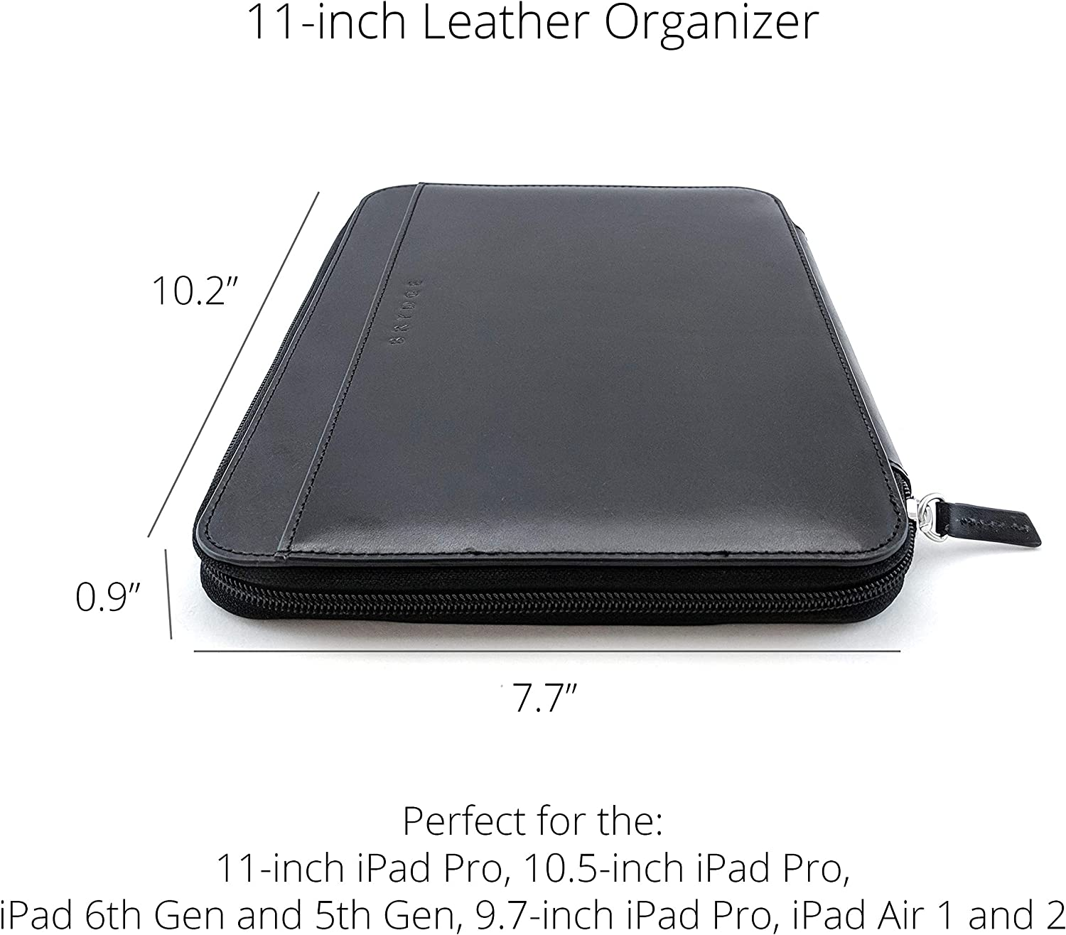 iPad 9.7 iPad 6th Gen /& 5th Gen and 10 Surface Go Handcrafted Protective 100/% Full-Grain Leather Folio Case Cover Brydge 11-inch Leather Folio for iPad Pro 10.5 Black