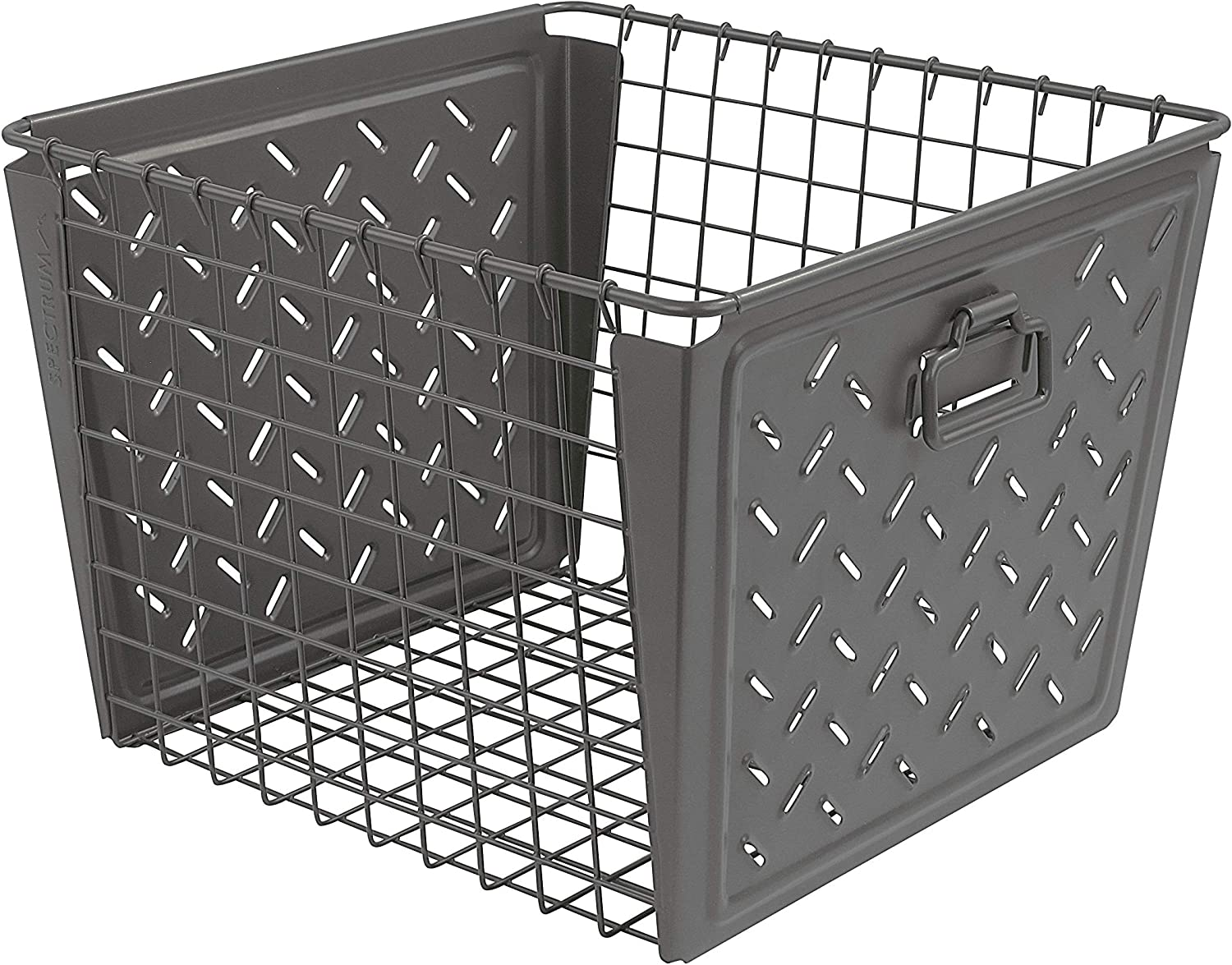 Spectrum Diversified Macklin, Stamped Steel & Wire Basket for Closet & Cubby Storage Vintage-Inspired Design with Customizable Label Plate, Large, Gray