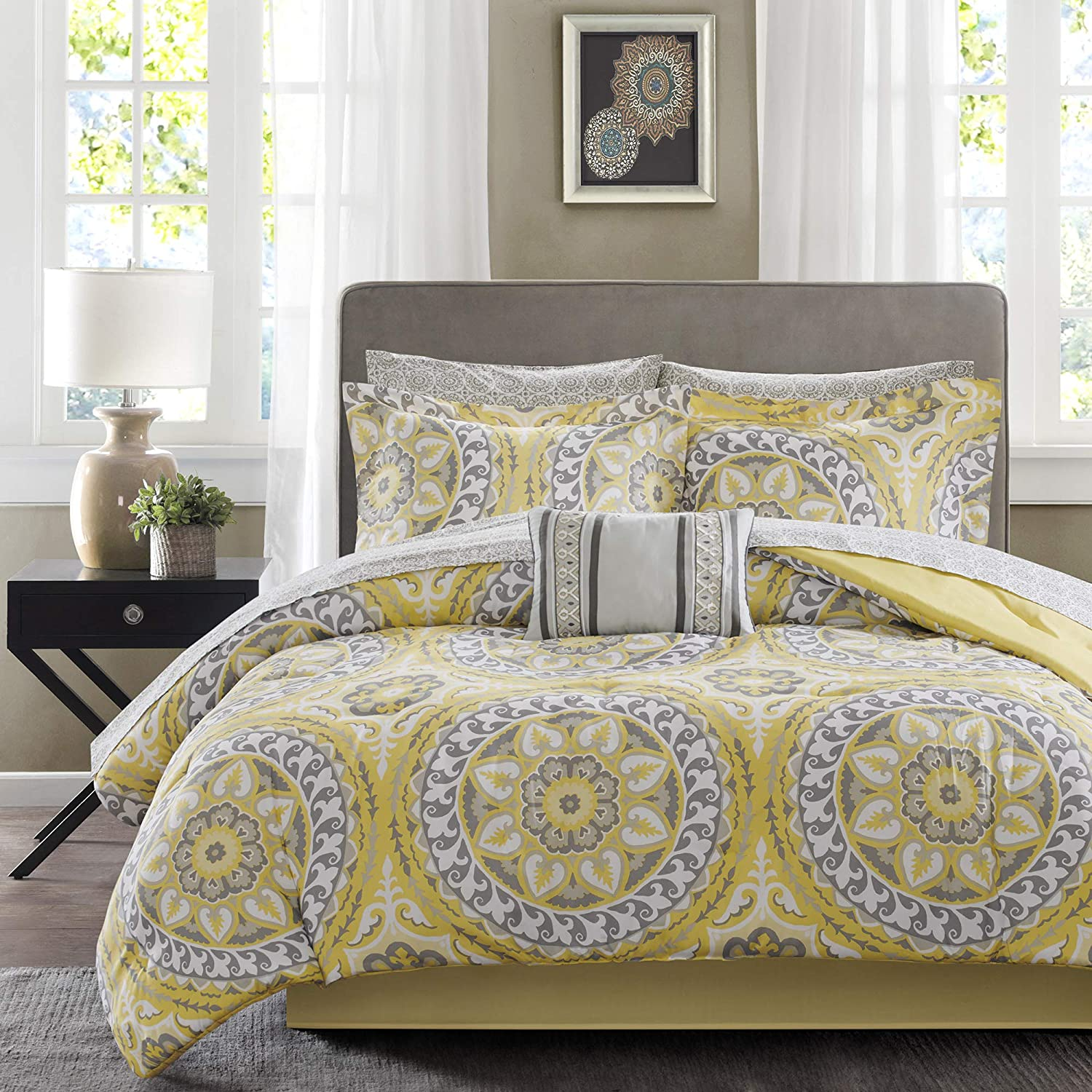 "Madison Park Essentials Cozy Bag Comforter, Medallion Damask Design All Season Down Alternative Complete Sheet Set, Bed Skirt, Twin(68""x86""), Yellow, 7 Piece"