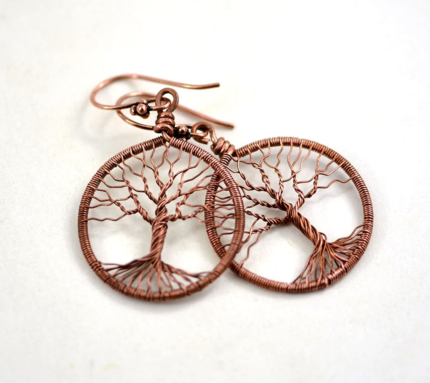 Amazon Com Copper Tree Of Life Earrings Round Wire Wrapped
